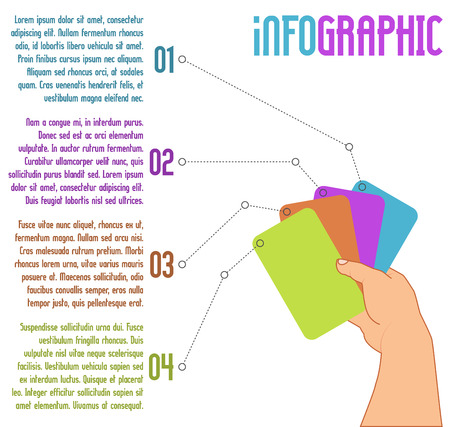 hand holding playing card: vector infographic design; suitable for number options or step-up options; business concept with four steps; with hand and four playing cards