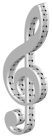 sides: 3d treble clef with music notes on sides, isolated illustration