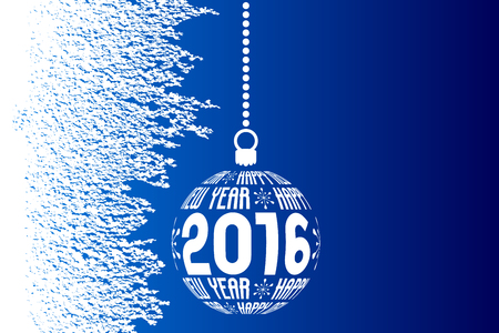 framed: Happy New Year 2016 greeting card, blue white ice background with christmas ball and with place for text