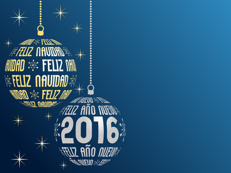 place for the text: spanish text Merry Christmas and Happy New Year 2016 greeting card in spanish language with place for text