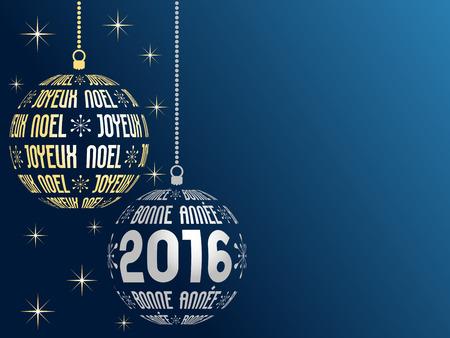 navidad estrellas: 2016 tarjeta de felicitaci�n con lugar para el texto, la versi�n del texto franc�s franc�s Feliz Navidad y Feliz A�o Nuevo Vectores
