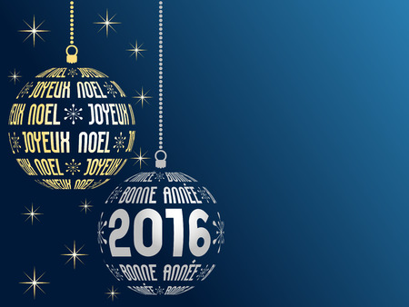 french: french text Merry Christmas and Happy New Year 2016 greeting card with place for text, french version