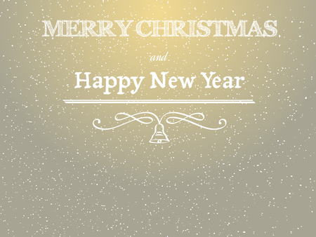 elegant backgrounds: golden merry christmas and happy new year greeting card with calligraphic element and bell, with falling snow on background, vector illustration