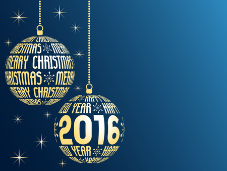 year's: merry christmas and happy new year 2016 greeting card, blue background with place for text, hanging gold christmas balls with text
