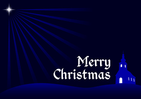 christmas background, vector christmas greeting card with silhouette of church, religious christmas dark blue concept