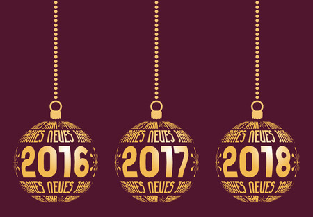 year: German Happy New Year graphic elements for years 2016, 2017, 2018. Christmas Germany balls with text Frohes Neues Jahr and years. Hanging isolated abstract balls at wine background.