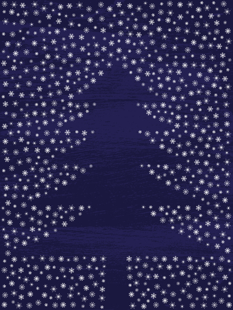 yule tide: abstract christmas greeting card, winter background with snowflakes and tree, dark blue vintage background, christmas tree bordered with snowflakes