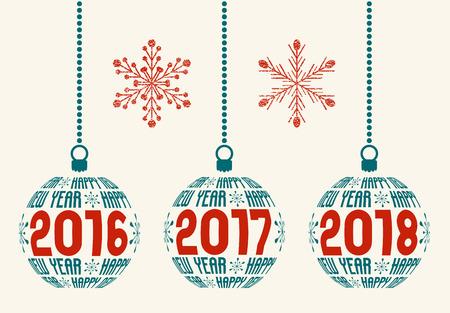 frohes neues jahr: Frohes Neues Jahr Grafikdesignelemente f�r Jahre 2016, 2017, 2018 Isolierte Weihnachtskugeln mit Text Frohes Neues Jahr und Jahren mit zwei Grunge Schneeflocken. Illustration