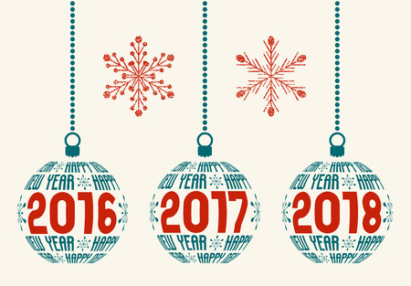 Happy New Year graphic design elements for years 2016, 2017, 2018. Isolated Christmas balls with text Happy New Year and years with two grunge snowflakes.