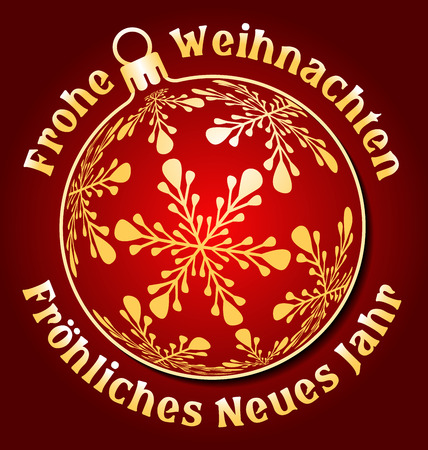 weihnachten: German Merry Christmas and Happy New Year background, Germany holiday greeting card or design element, with christmas ball, text around Frohe Weihnachten, Frohliches Neues Jahr and dark red background