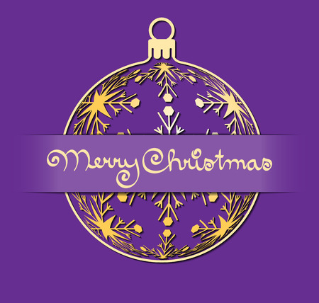 gold silhouette: christmas greeting card, gold silhouette of christmas ball with text Merry Christmas on violet background, holiday illustration Stock Photo