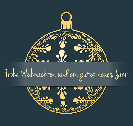 jahr: German Merry Christmas and Happy New Year greeting card, gold silhouette of christmas ball with german text Frohe Weihnachten und ein gutes neues Jahr, dark desaturated blue background,germany holiday vector illustration Illustration