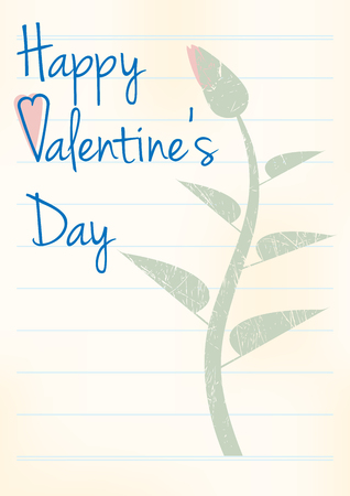 writing pad: retro valentines day background, flower on sheet from exercise book with line, text Happy Valentines Day, vintage illustration