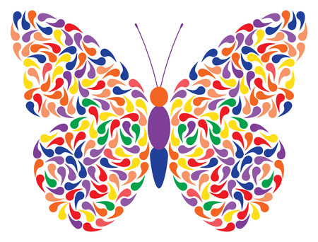 butterfly isolated: abstract vector butterfly created from colorful drops, isolated illustration on white background Illustration