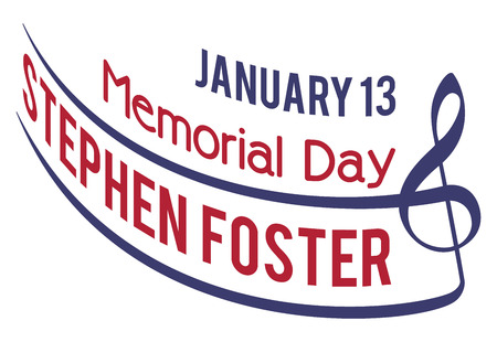 songwriter: Stephen Foster Memorial Day, with date, isolated on white background