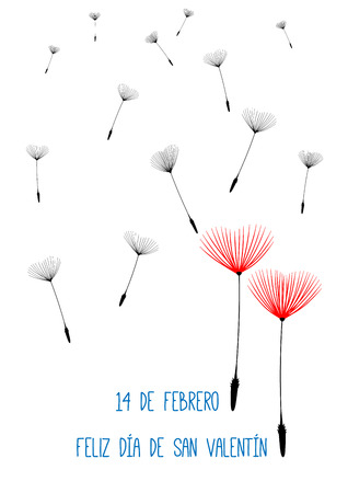 san valentin: Spanish Valentine background with dandelion seeds as hearts. Isolated illustration with text in Spain language.