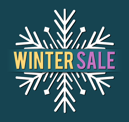 winter sales: banner for winter sales, seasonal illustration with text Winter Sale, with snowflake and dark cyan background
