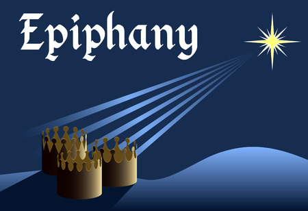 melchior: Epiphany background, crowns from three kings with star above them, three kings day, christian holiday Illustration