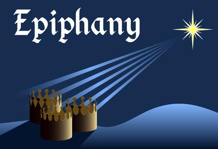 Epiphany Hintergrund, Kronen aus drei Könige mit Stern über ihnen, Dreikönigstag, christliche Feiertag Vektorgrafik