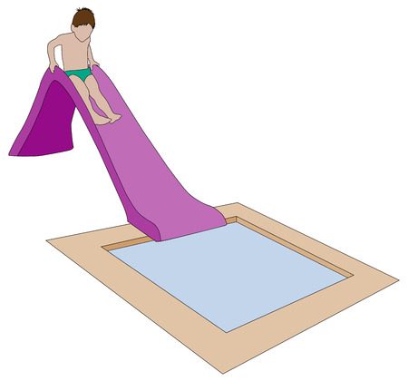 water pool: child on water slide, isolated illustration, aqua park for children concept