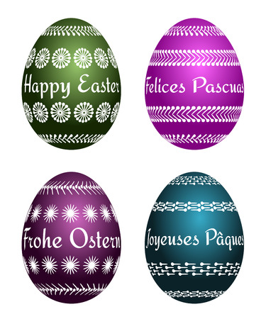 german tradition: four vector Easter eggs with text Happy Easter in four languages EN, ES, DE, FR. Isolated easter set.