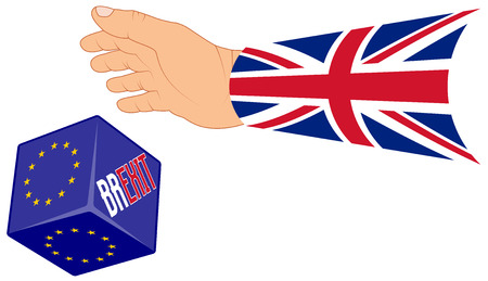 remain: concept BREXIT for United Kingdom with a hand throwing a dice with options EU or GREXIT, isolated illustration