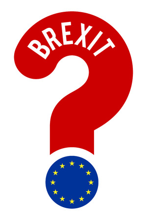 referendum: concept BREXIT, question mark with text BREXIT and flag EU as dot, referendum 2017 concept, illustration