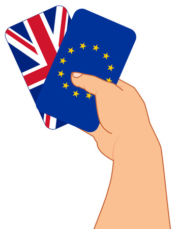 referendum: concept BREXIT, hand with two playing cards, flag GB and flag EU, referendum 2016 concept