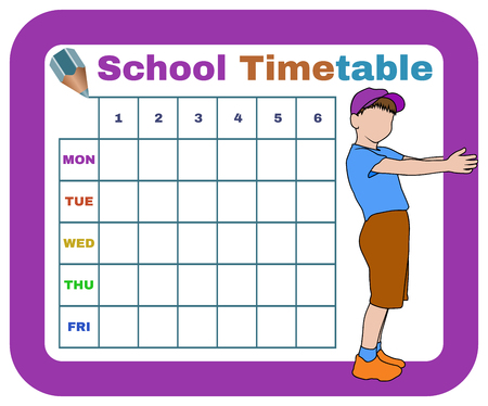 classes schedule: school timetable with silhouette of boy and with crayon, isolated schedule for students