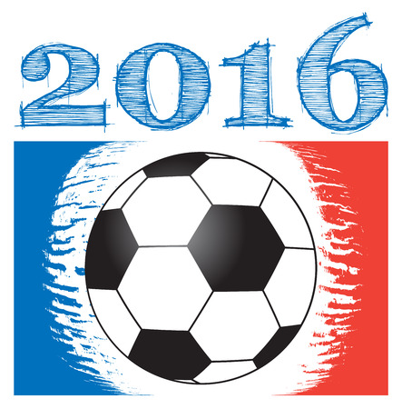europa: football background for european championship, with year 2016 with ball and abstract french flag, isolated illustration for european football tournament