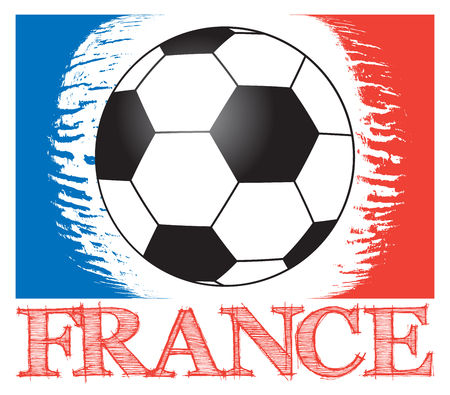 elimination: football background for european championship, with country name  France with ball and abstract french flag, isolated illustration for european football tournament Illustration