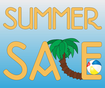 trade off: summer sale background with palm and beach ball on blue background, vector summer sale banner