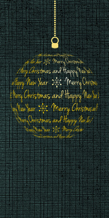 merry christmas and happy new year card, vector holiday banner with dark cyan textured background
