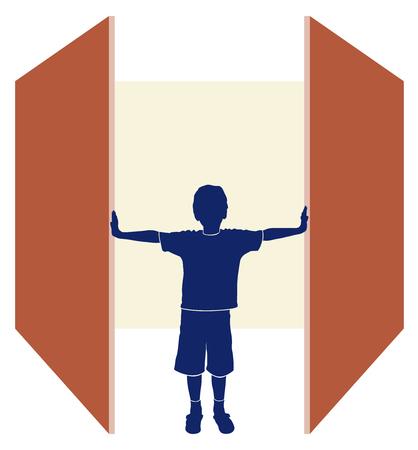 doors open: open day concept, doors open days background for schools or kindergartens, isolated illustration