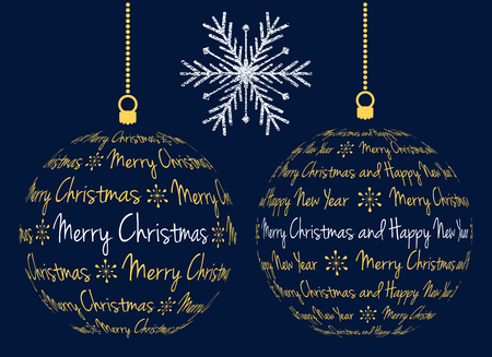 two vector christmas ball created from text merry christmas and happy new year and grunge snowflake, isolated illustration on dark blue background