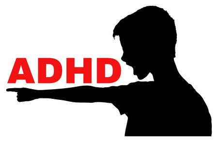 hyperactivity: ADHD, Attention Deficit Hyperactivity Disorder concept, vector with isolated silhouette of angry boy