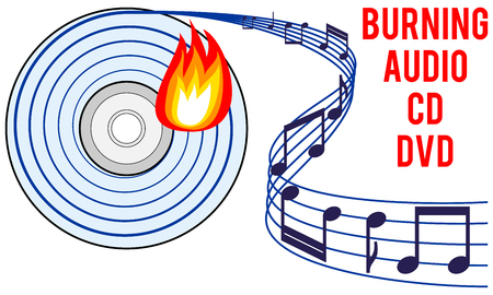 recordable: burning audio CD or DVD icon, burning soundtrack concept, recording audio tracks idea, vector illustration with white isolated background