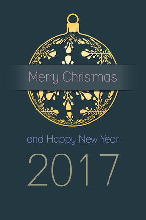 new year party: Merry Christmas and Happy New Year 2017 greeting card, gold silhouette of christmas ball with text on dark desaturated blue background, holiday vector illustration