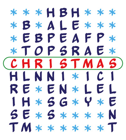 heart puzzle: Christmas background. Crossword puzzle for the word Christmas and related words - Christ, Bethlehem, Born, Happiness, Blessing, Heart, Family, Peace, Silent. Isolated on white background.