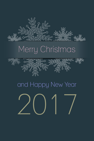 happy new year: Merry Christmas and Happy New Year 2017 greeting card, snowflakes with text on dark desaturated blue background, holiday vector illustration Illustration