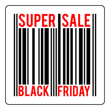 black friday sale concept vector, bar-code with text super sale, black friday, isolated illustration Çizim