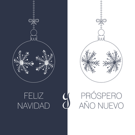spanish christmas and new year greeting card with textured christmas balls and text, duotone spain holiday vector