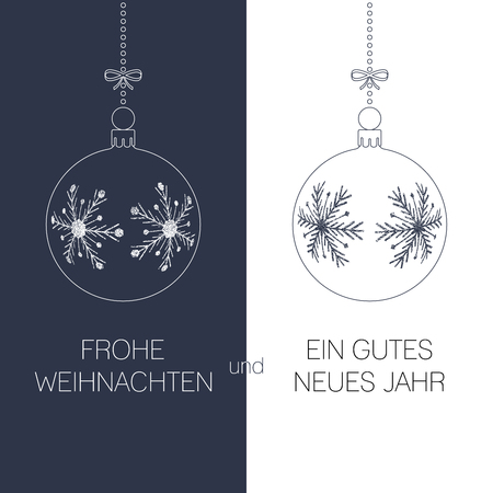 german christmas and new year greeting card with textured christmas balls and text, duotone germany holiday vector