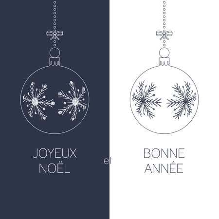 duotone: french christmas and new year greeting card with textured christmas balls and text, duotone france holiday vector