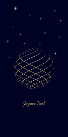 french christmas background with text Merry Christmas on dark blue background, very soft gold colored elements, christmas ball and stars, france holiday isolated illustration