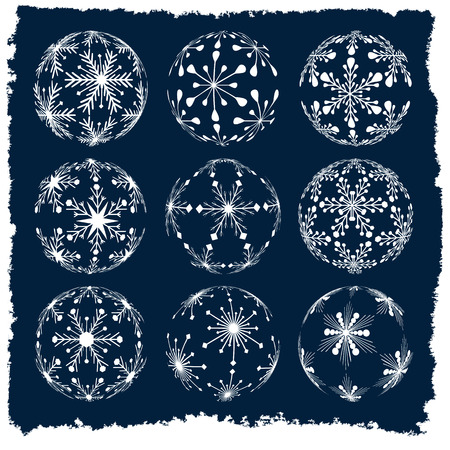 set of christmas ball silhouettes created from snowflakes with vintage winter frame, isolated holiday illustration Illustration