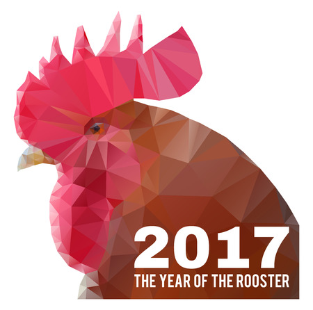 chinese astrology: chinese new year 2017 - the year of the rooster, triangular geometric polygonal head of cock with text, vector illustration Illustration