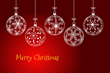 christmas background, holiday greeting card with text Merry Christmas on dark red background, christmas balls created from snowflakes pattern
