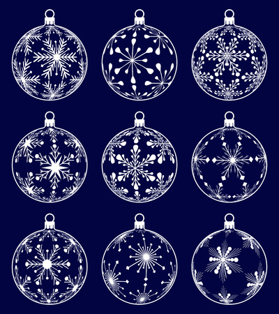 set of nine christmas ball silhouettes with snowflake texture on dark blue background, isolated holiday illustration