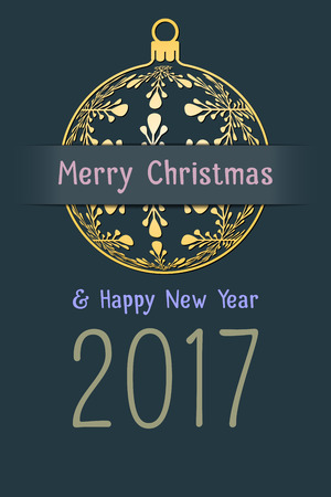 Merry Christmas and Happy New Year 2017 greeting card, gold silhouette of christmas ball with text on dark desaturated blue background, holiday vector illustration